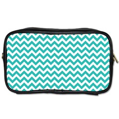 Turquoise And White Zigzag Pattern Travel Toiletry Bag (One Side)