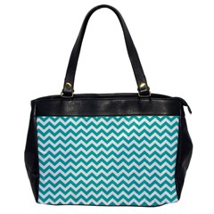 Turquoise And White Zigzag Pattern Oversize Office Handbag (One Side)