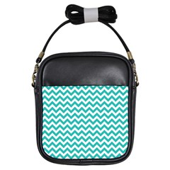 Turquoise And White Zigzag Pattern Girl s Sling Bag