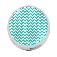 Turquoise And White Zigzag Pattern 4 Port Usb Hub (two Sides)