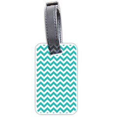 Turquoise And White Zigzag Pattern Luggage Tag (Two Sides)