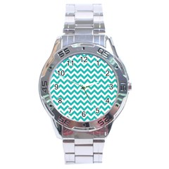 Turquoise And White Zigzag Pattern Stainless Steel Watch