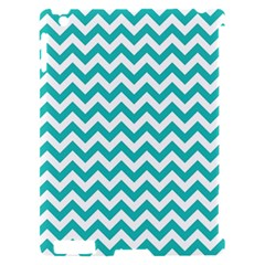 Turquoise And White Zigzag Pattern Apple iPad 2 Hardshell Case (Compatible with Smart Cover)
