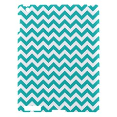 Turquoise And White Zigzag Pattern Apple iPad 3/4 Hardshell Case