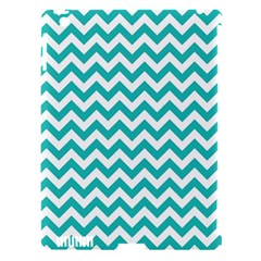 Turquoise And White Zigzag Pattern Apple iPad 3/4 Hardshell Case (Compatible with Smart Cover)