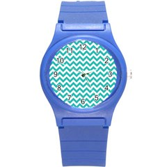 Turquoise And White Zigzag Pattern Plastic Sport Watch (small)