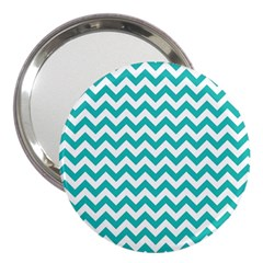 Turquoise And White Zigzag Pattern 3  Handbag Mirror