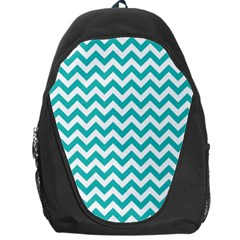 Turquoise And White Zigzag Pattern Backpack Bag