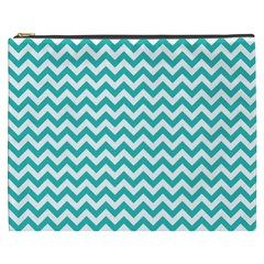 Turquoise And White Zigzag Pattern Cosmetic Bag (XXXL)