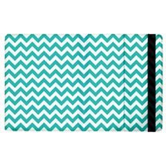 Turquoise And White Zigzag Pattern Apple iPad 2 Flip Case