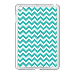 Turquoise And White Zigzag Pattern Apple iPad Mini Case (White)