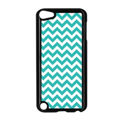 Turquoise And White Zigzag Pattern Apple iPod Touch 5 Case (Black)