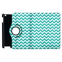 Turquoise And White Zigzag Pattern Apple iPad 2 Flip 360 Case