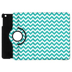 Turquoise And White Zigzag Pattern Apple iPad Mini Flip 360 Case