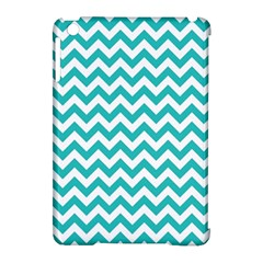 Turquoise And White Zigzag Pattern Apple iPad Mini Hardshell Case (Compatible with Smart Cover)