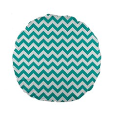 Turquoise And White Zigzag Pattern 15  Premium Round Cushion