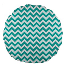 Turquoise And White Zigzag Pattern 18  Premium Round Cushion