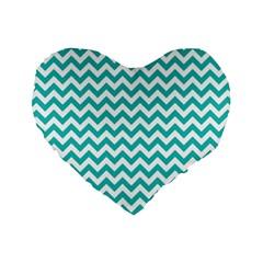 Turquoise And White Zigzag Pattern 16  Premium Heart Shape Cushion