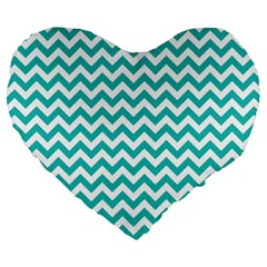 Turquoise And White Zigzag Pattern 19  Premium Heart Shape Cushion