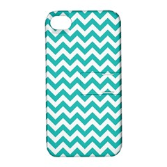 Turquoise And White Zigzag Pattern Apple Iphone 4/4s Hardshell Case With Stand