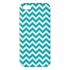 Turquoise And White Zigzag Pattern Apple iPhone 5 Premium Hardshell Case