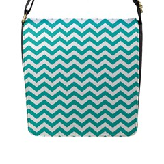 Turquoise And White Zigzag Pattern Flap Closure Messenger Bag (Large)
