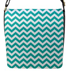 Turquoise And White Zigzag Pattern Flap Closure Messenger Bag (Small)