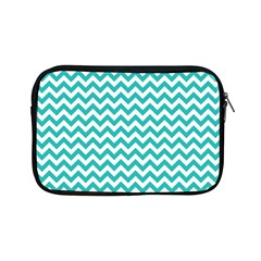 Turquoise And White Zigzag Pattern Apple iPad Mini Zippered Sleeve