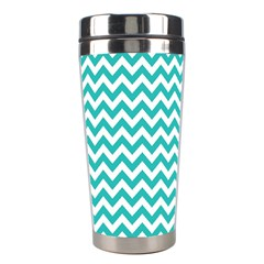 Turquoise And White Zigzag Pattern Stainless Steel Travel Tumbler