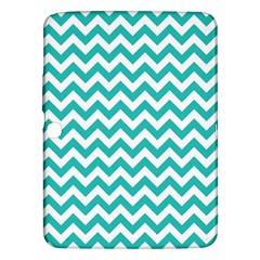 Turquoise And White Zigzag Pattern Samsung Galaxy Tab 3 (10.1 ) P5200 Hardshell Case