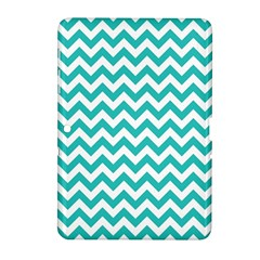 Turquoise And White Zigzag Pattern Samsung Galaxy Tab 2 (10 1 ) P5100 Hardshell Case