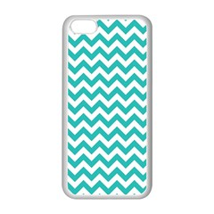 Turquoise And White Zigzag Pattern Apple iPhone 5C Seamless Case (White)