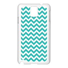 Turquoise And White Zigzag Pattern Samsung Galaxy Note 3 N9005 Case (White)