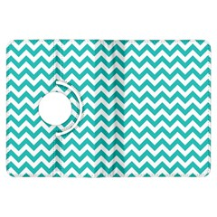 Turquoise And White Zigzag Pattern Kindle Fire HDX 7  Flip 360 Case