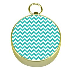 Turquoise And White Zigzag Pattern Gold Compass