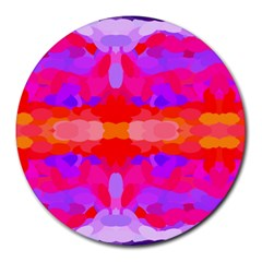 Purple, Pink And Orange Tie Dye  By Celeste Khoncepts Com 8  Mouse Pad (round)