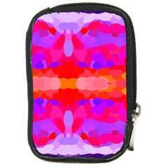 Purple, Pink And Orange Tie Dye  By Celeste Khoncepts Com Compact Camera Leather Case