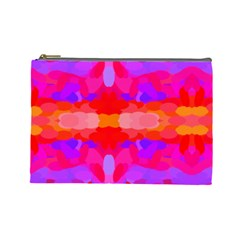 Purple, Pink And Orange Tie Dye  By Celeste Khoncepts Com Cosmetic Bag (large)