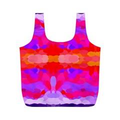 Purple, Pink And Orange Tie Dye  By Celeste Khoncepts Com Reusable Bag (M)