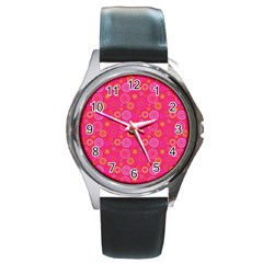 Psychedelic Kaleidoscope Round Leather Watch (Silver Rim)