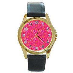 Psychedelic Kaleidoscope Round Leather Watch (Gold Rim)