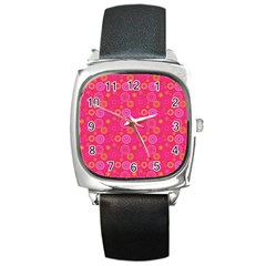 Psychedelic Kaleidoscope Square Leather Watch