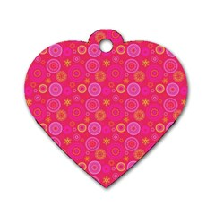 Psychedelic Kaleidoscope Dog Tag Heart (two Sided)