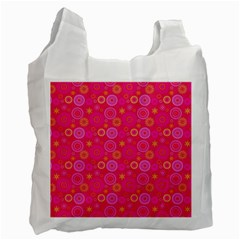 Psychedelic Kaleidoscope White Reusable Bag (Two Sides)