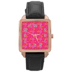 Psychedelic Kaleidoscope Rose Gold Leather Watch