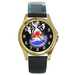 Sketch27420539 Round Leather Watch (Gold Rim)