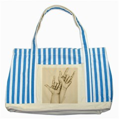 I Love You Blue Striped Tote Bag