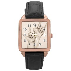 I Love You Rose Gold Leather Watch