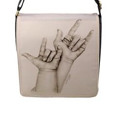 I Love You Flap Closure Messenger Bag (Large)