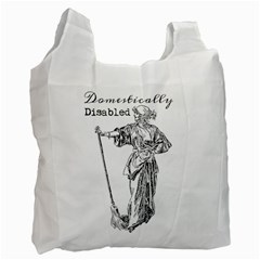 Domestically Disabled White Reusable Bag (One Side)